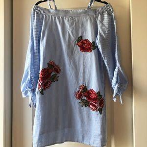 Romeo & Juliet Couture Dresses - Blue Stripe Off Shoulder Embroidered Rose Dress